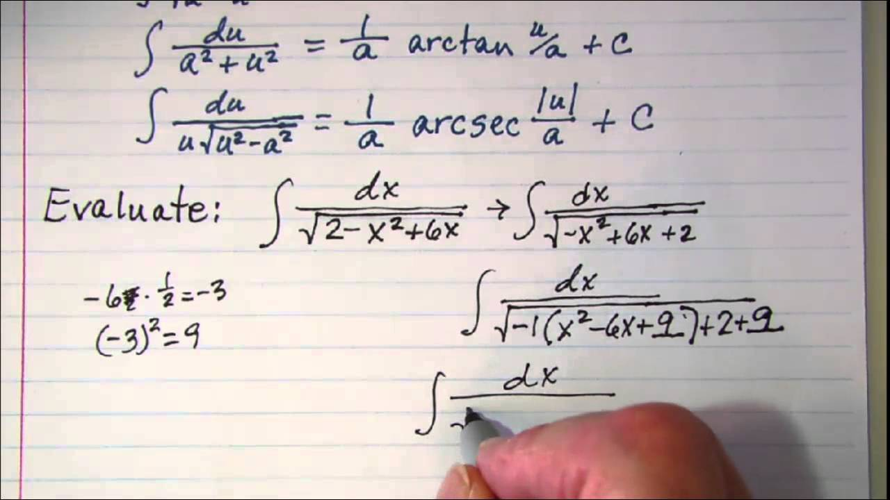 Using Integral Formulas 4 Completing The Square