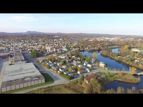 Drone view of Magog, Quebec