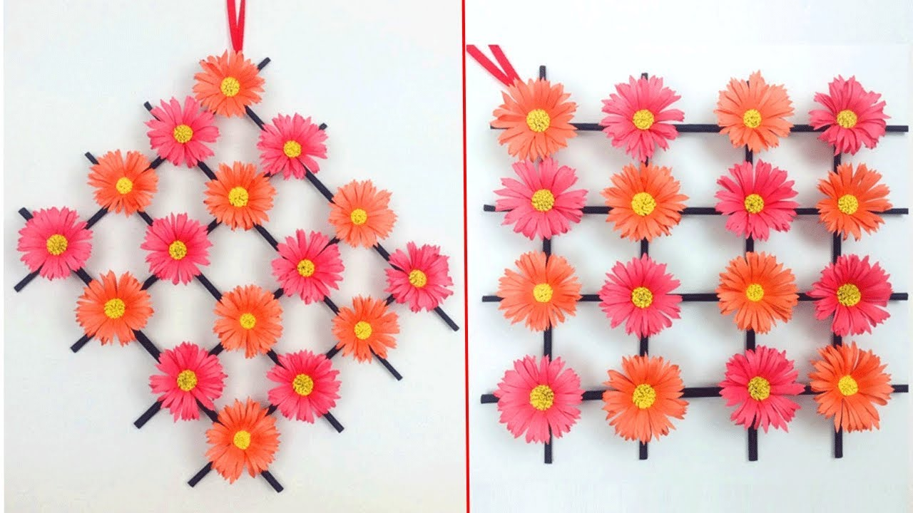 Paper Flower Wall Hanging Wall Decoration Ideas Diy Hanging Flower Diy Simple Home Decor Craft Youtube