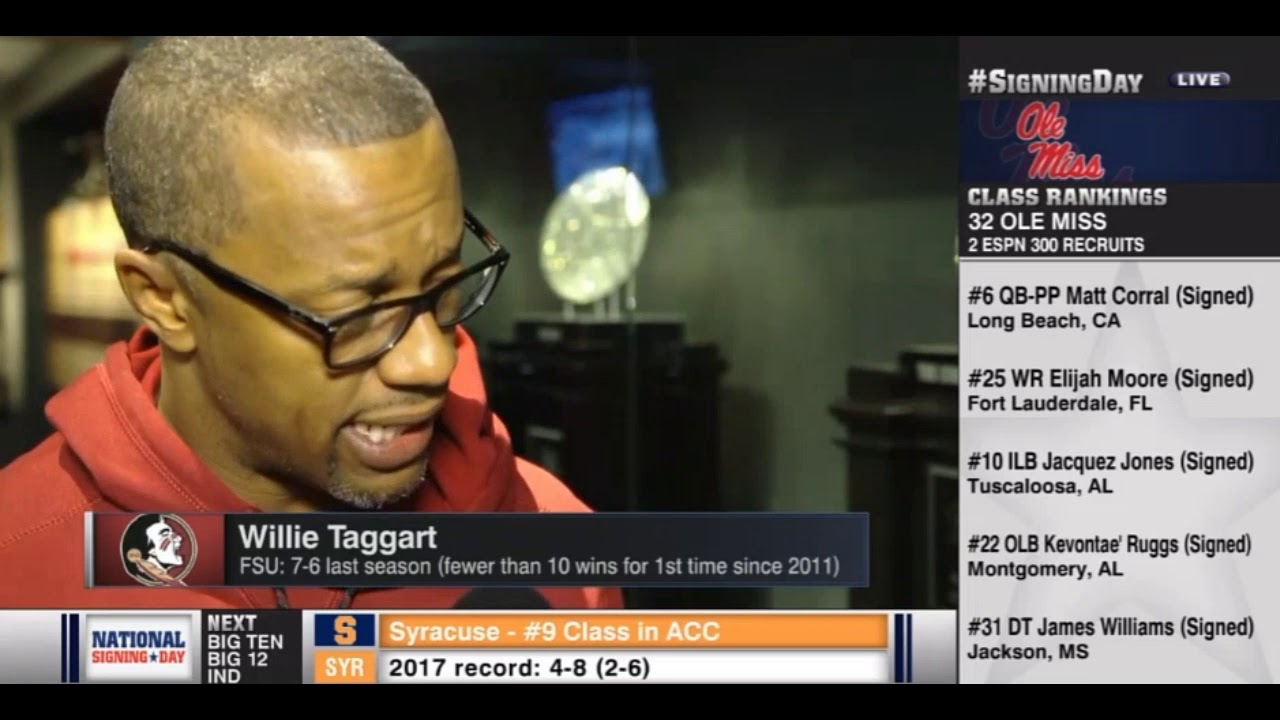 fsu-coach-willie-taggart-on-espnu-on-national-signing-day