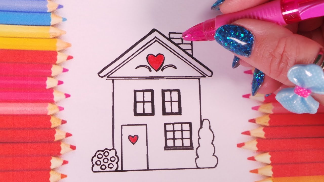 How to Draw House for Kids with Art Coloring Page and Colour Markers ...