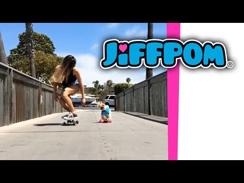 jiffpom and Anastasia Ashley skateboarding