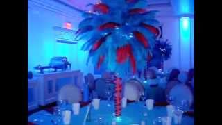 Turquoise & Red Ostrich Feather Rentals at Carlyle at the Palace Plainview NY