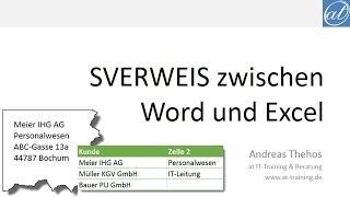 Word und Excel - SVERWEIS von Word nach Excel und wieder zurück - Dynamische Verknüpfungen