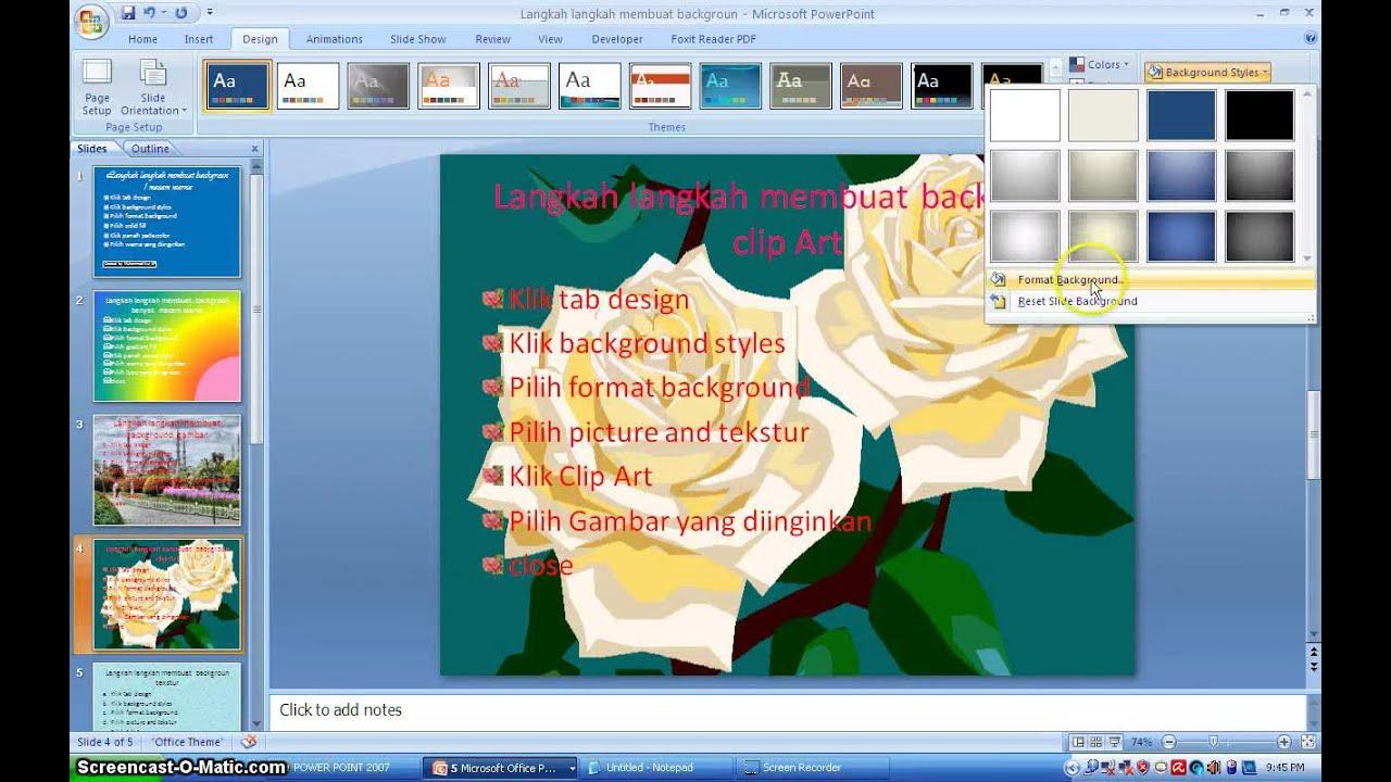 Cara Cepat Membuat Background Di Power Point 2007 Youtube