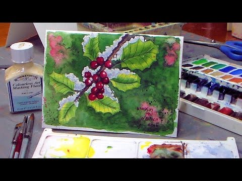 How To Paint Holly in Watercolor! Christmas Card Idea - YouTube