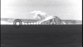 US Navy warships and US Army Air Forces bombers strike Corregidor during Philippi...HD Stock Footage
