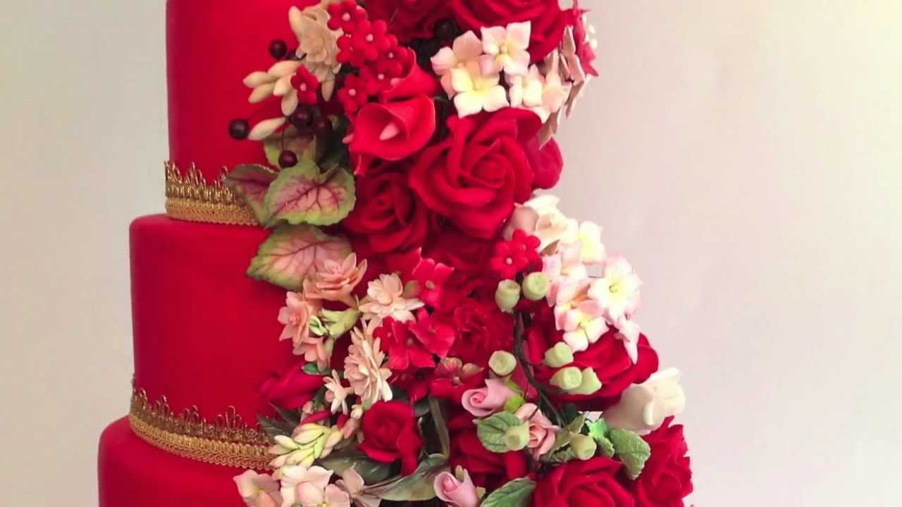 Wedding Cakes, Las Vegas, Red & Gold Cakes, Faux-Ever Cakes - YouTube