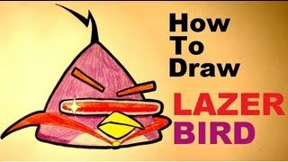 How to draw LAZER BIRD (yellow bird) - Angry Birds Space step by step HD