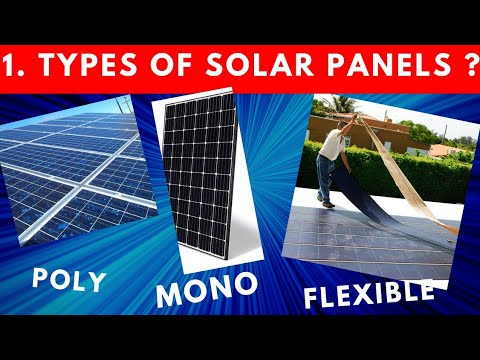Types Of Solar Panels   Mono, Poly, Thinfilm   Material, Appearance, Price, Efficiency, Application.