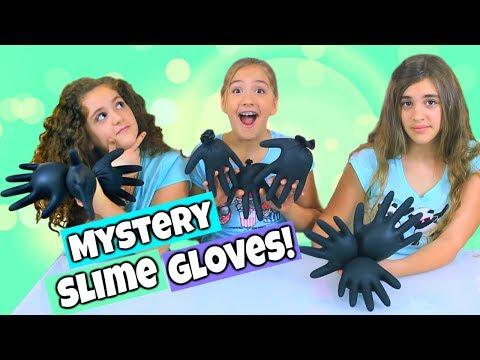 3 Colors of GLITTER Mystery SLIME GLOVES Challenge!