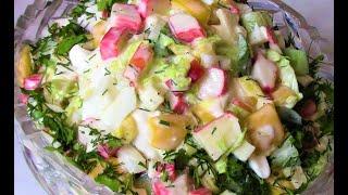 Оригинальный крабовый салат с кабачками !