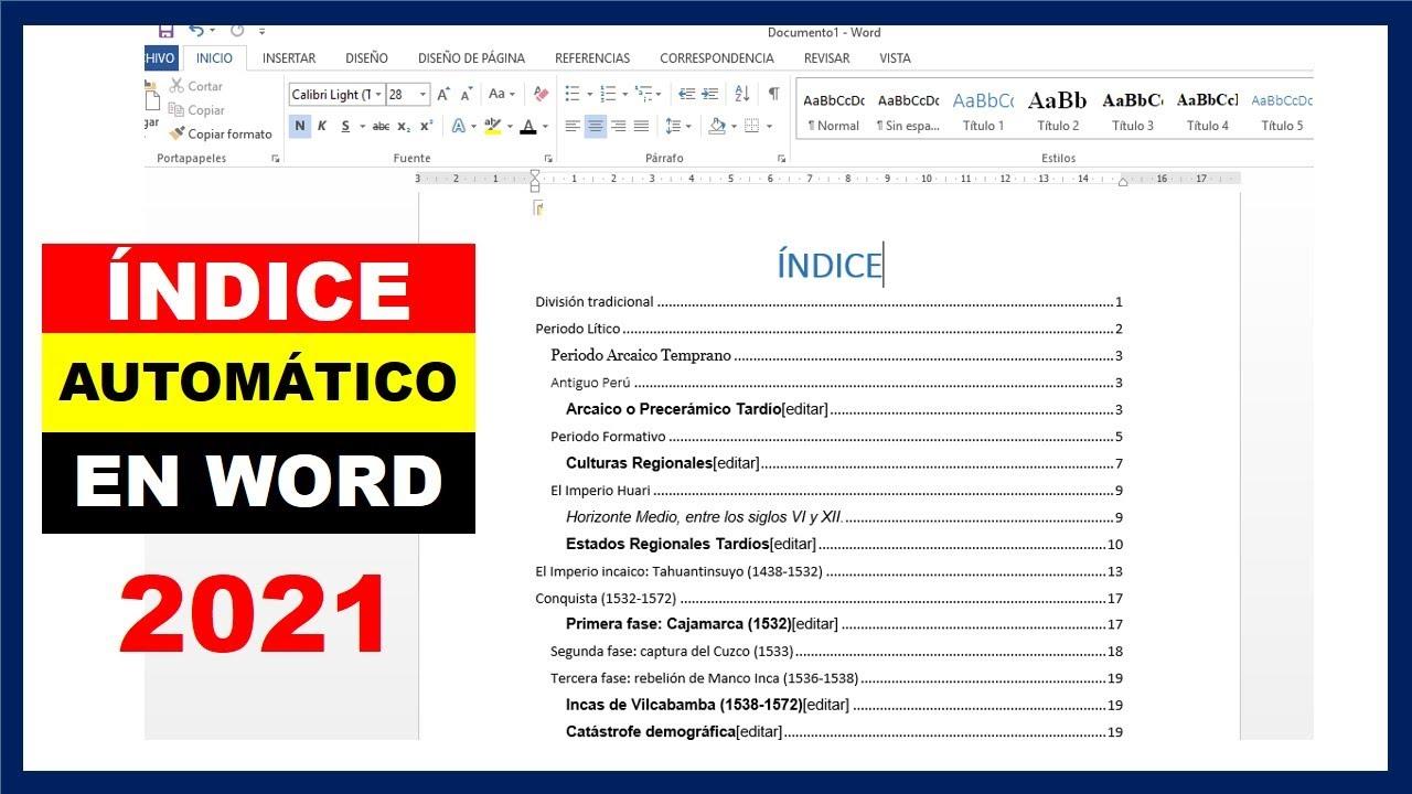 Como Hacer Un índice Automático En Word 2019