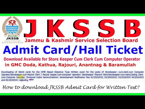 Jkssb Admit Card Download Available For Written Test Of Store Keeper In Gmc Jkssb Admit Card 2019 Youtube