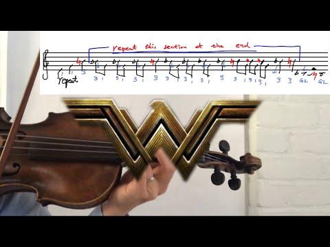 How to play WonderWoman Theme on Violin Tab Tutorial with Sheet Music
