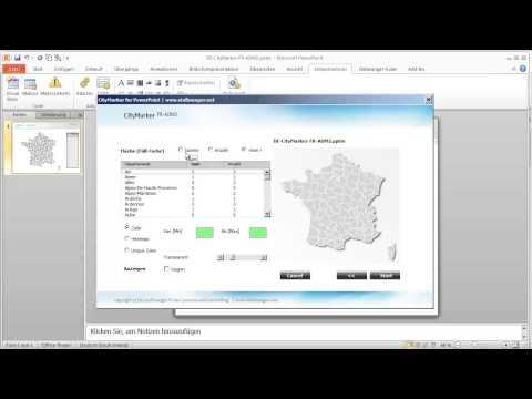 CityMarker Frankreich PowerPoint Departments