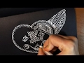 Zentangle Doodle Valentine Heart with Wings ❤ White Drawing on Black Paper