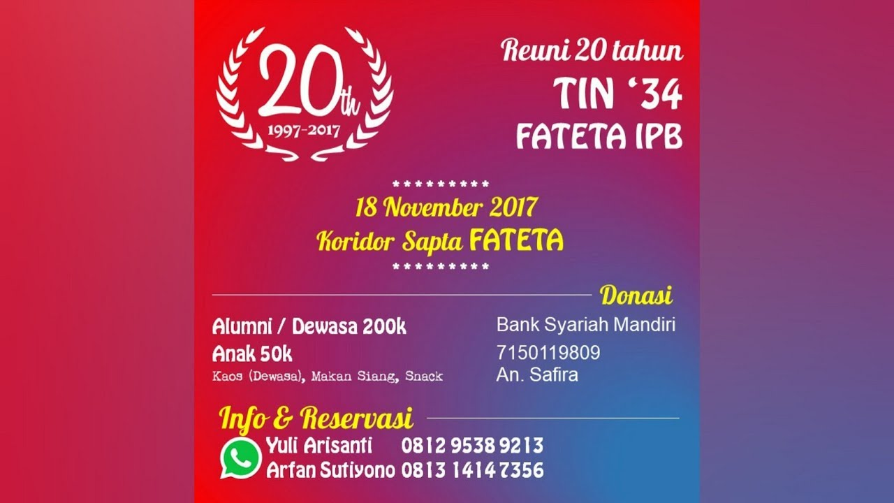 Undangan Reuni Tin 34 Fateta Ipb Youtube