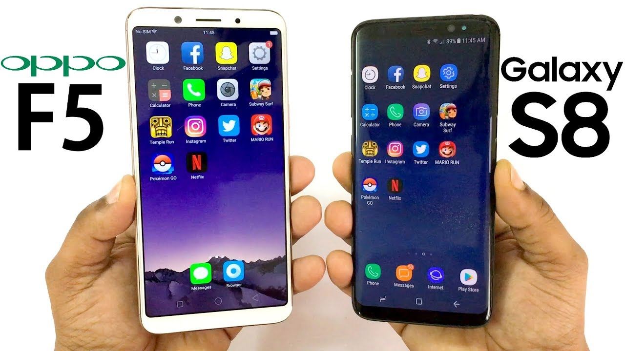 Oppo F5 Vs Samsung Galaxy S8 Speed Test Youtube