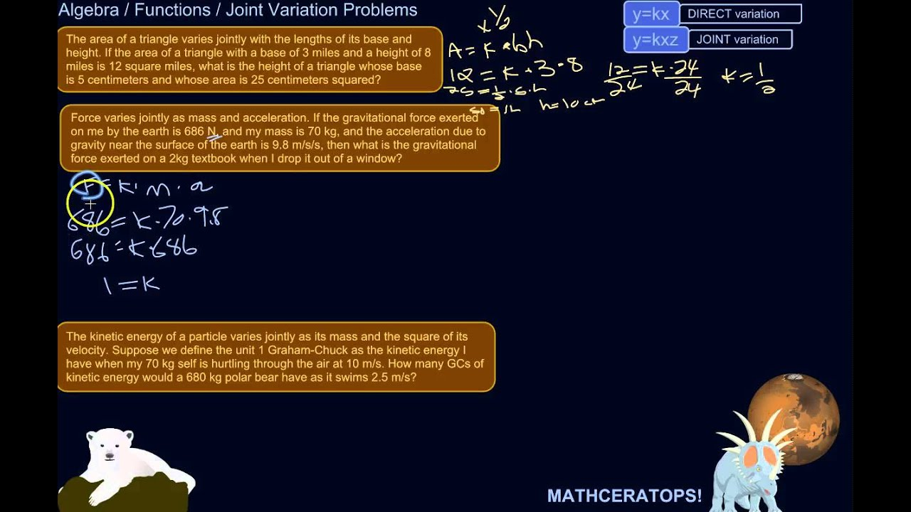 How To Recognize Set Up And Solve Joint Variation Problems