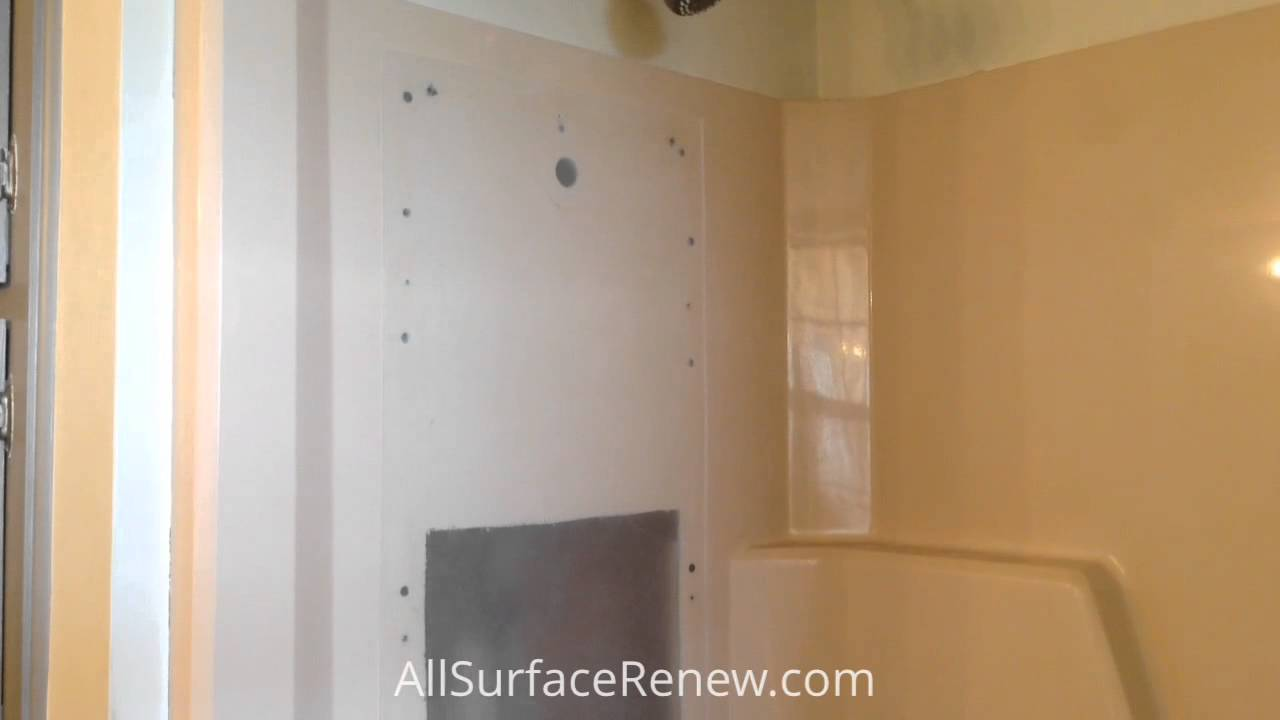Refinish a fiberglass tub enclosure - YouTube