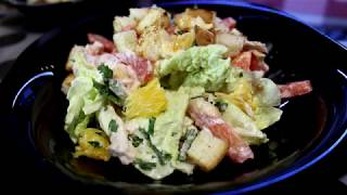 Очень вкусный овощной салат с курицей и апельсином!