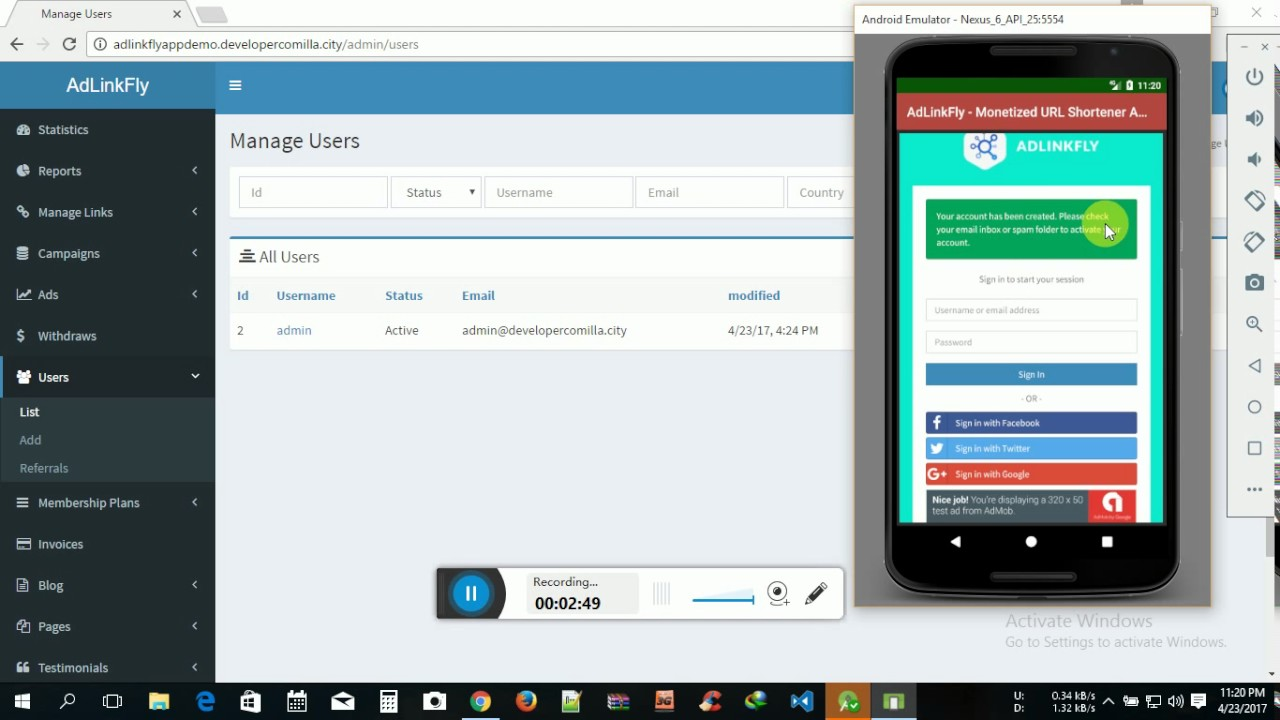 AdLinkFly-Monetized URL Shortener App ADMob Banner php mysql connect Website Sarver