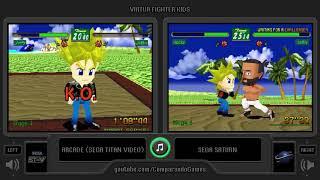 Dual Longplay [41] Virtua Fighter Kids (Arcade vs Sega Saturn) Side by Side Comparison
