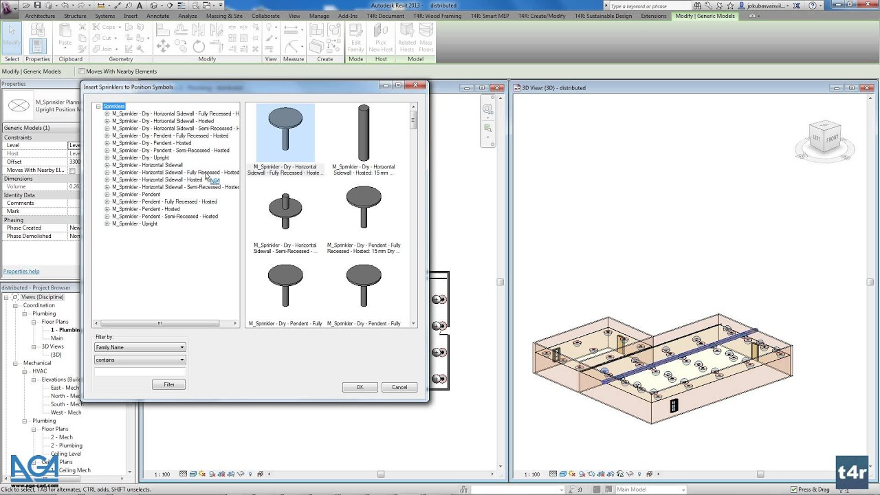 Fire Sprinkler System Design In Revit Place Sprinklers Automatically Connect To Distribution Pipework Agacad