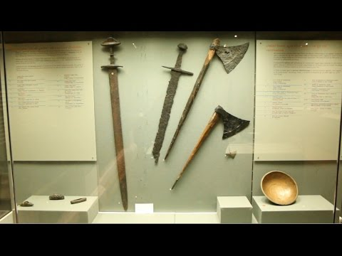 Viking swords, arrowheads, hilt fittings, scabbards, spears and axes - National Museum, Dublin
