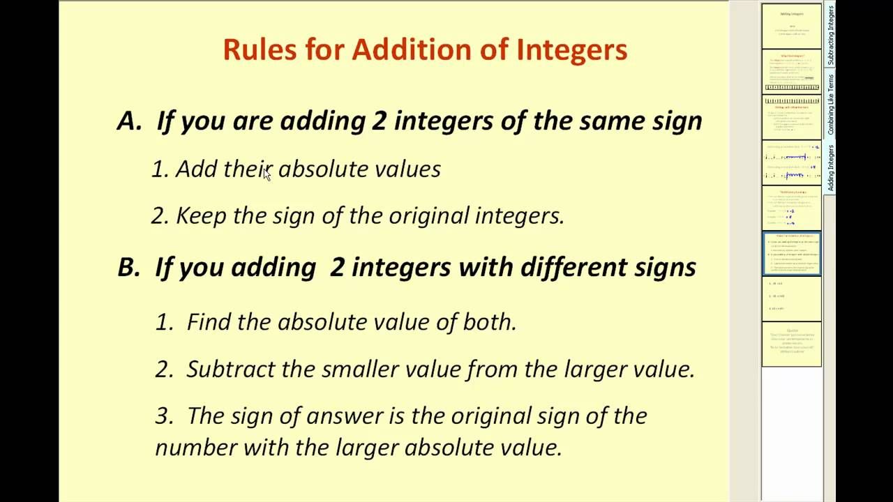 worksheet Adding Integers adding integers youtube integers