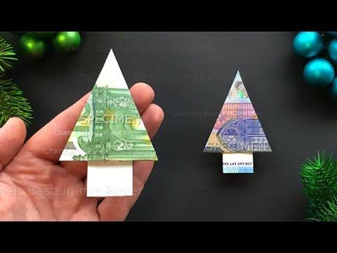 Geldscheine Falten Weihnachten: Tanne Aus Geld Falten 🎄 Geldgeschenke Basteln