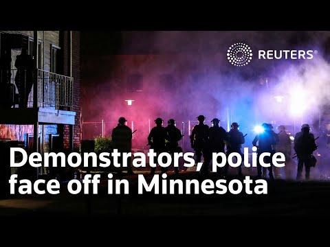 Demonstrators, police face off in Minnesota