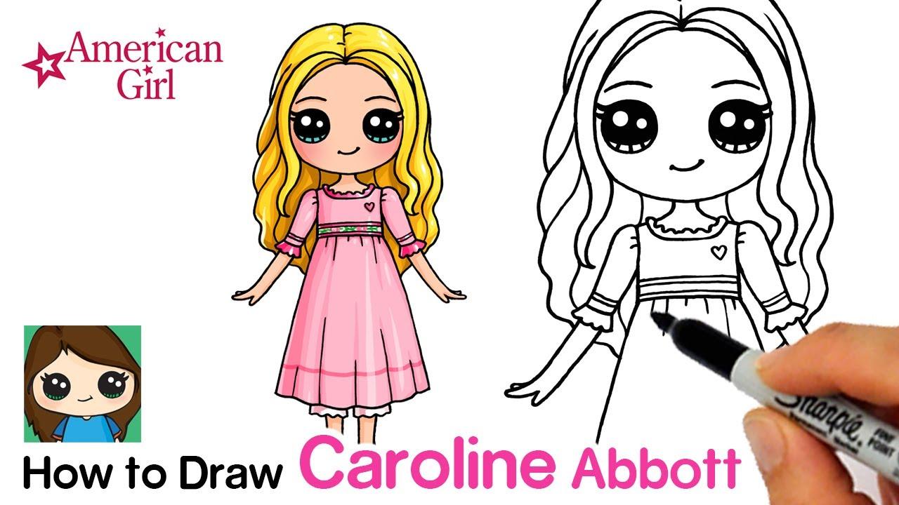 How to Draw Caroline Abbott Easy  American Girl Doll