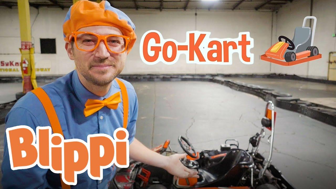 Blippi Goes Go Kart Racing | Vehicle Videos For Kids With Blippi
