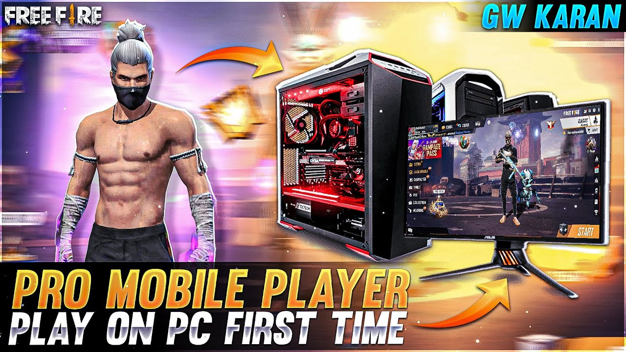 Pro Mobile Player Play On Pc First Time 😭😡 -Garena free fire