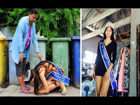 Thai beauty queen kneels down to thank mother who raised her alone by collecting and recycling trash