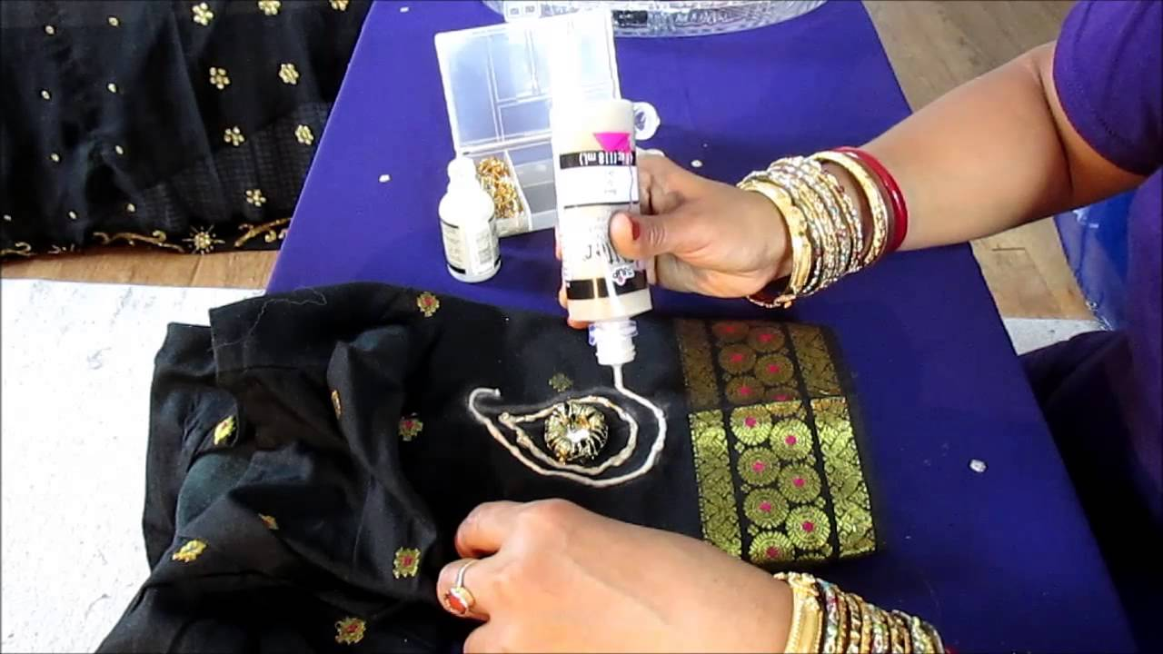 DIY SEW MIRROR ON A SAREE BLOUSE AND DECORATE IT YouTube