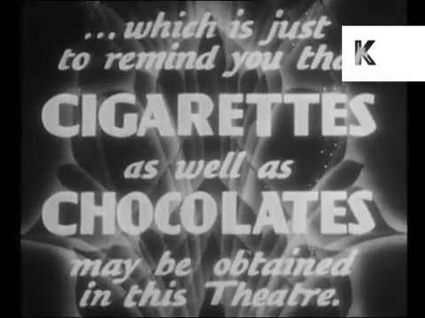 1930s UK Cigarettes Cinema Advert, Smoking, Rare Archive Footage, Bizarre