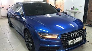 Audi A7 в цвете BMW M series, полная оклейка в синий глянец