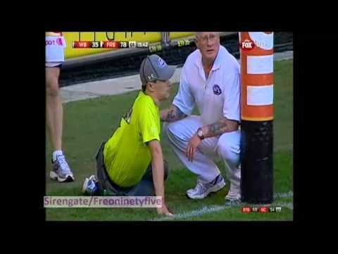 Goal Umpire Injured During Bulldogs v Dockers Game 6/4/13.