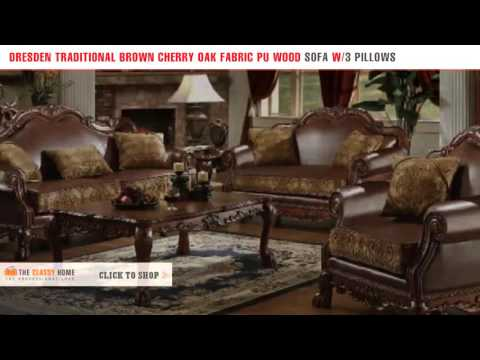 Acme Dresden Traditional Brown Cherry Oak Fabric PU Wood Sofa With 3 Pillows