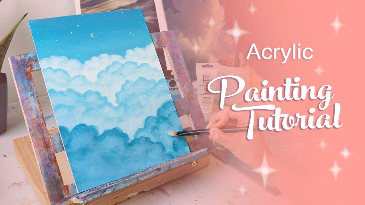 Acrylic Painting Tutorial - Relaxing Cloud Painting (for ...