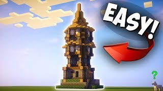 Minecraft: How to make a Big Survival House - Starter House tutorial - Medieval Watchout Tower
