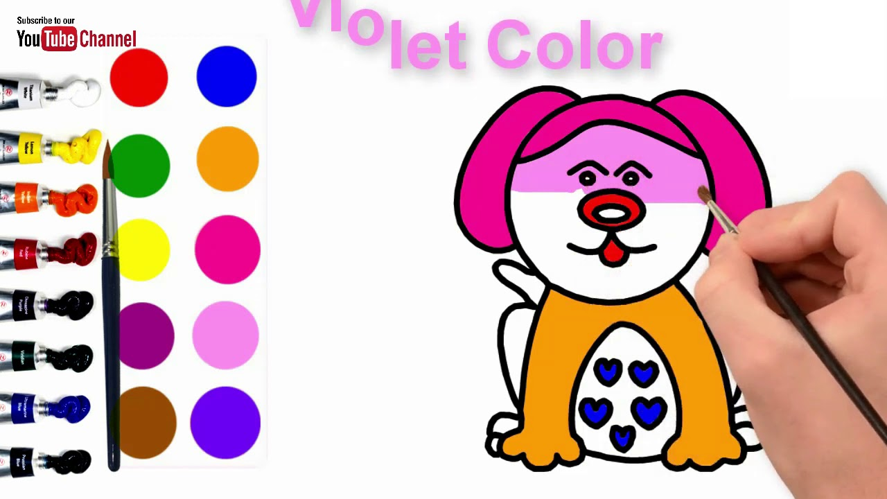 How to draw Dog and Coloring   Cute Puppy Drawing