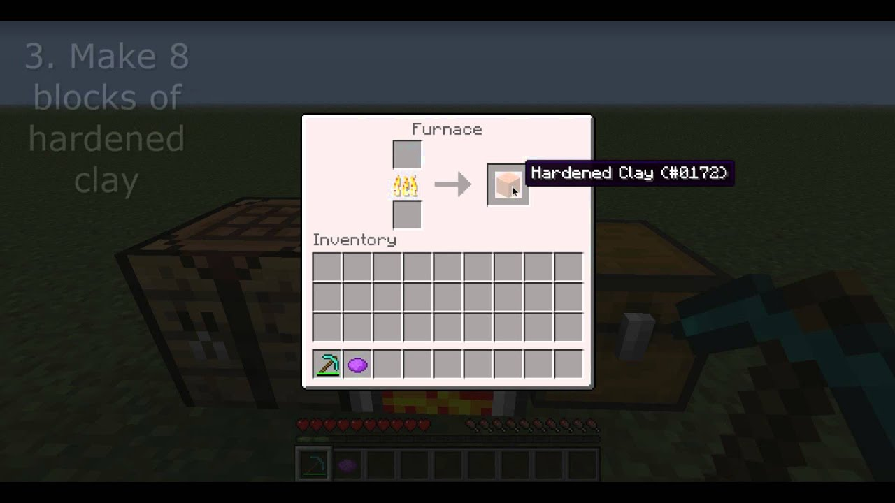 Minecraft How To Make Hardened And Stained Clay Youtube