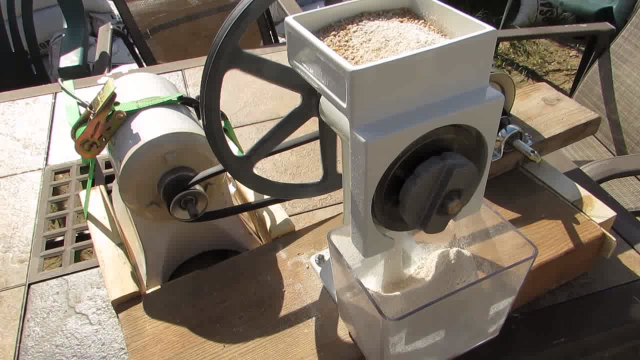 Country Living Grain Mill motorized with Champion Juicer motor YouTube