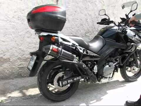 suzuki dl 650 v strom 2005 mass exhausts youtube. Black Bedroom Furniture Sets. Home Design Ideas