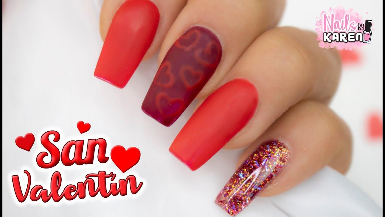 Uñas Para San Valentín Rojas