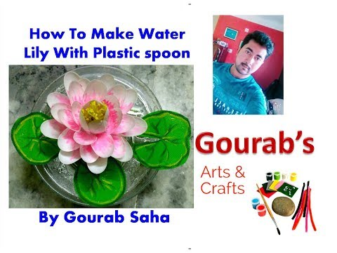 DIY || Recycled Plastic spoon floating lotus flower || Water Lily || Waste Material Craft | Tutorial